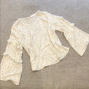 Lush ruffle dot bell sleeve top - Nordstrom XS
